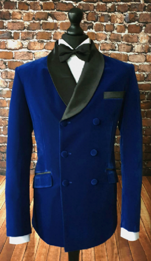 """George"" Sapphire Double Breasted Velvet Dinner Jacket"